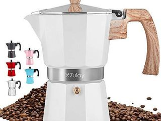 Zulay Classic Stovetop Espresso Maker for Great Flavored Strong Espresso  Classic Italian Style 5 5 Espresso Cup Moka Pot  Makes Delicious Coffee  Easy to Operate   Quick Cleanup Pot  White