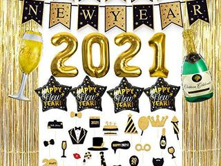 New Years Eve Party Supplies 2021  Foil Balloon Decorations Set  Photo Booth Props  Tinsel Foil Fringe Curtains  Banner for Party Photo Backdrop