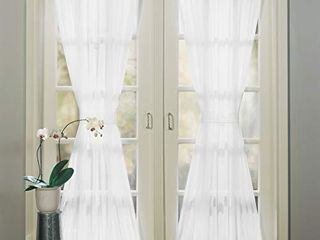 No  918 Emily Sheer Voile Set of 2 Curtain Door Panel  59  x 72  White