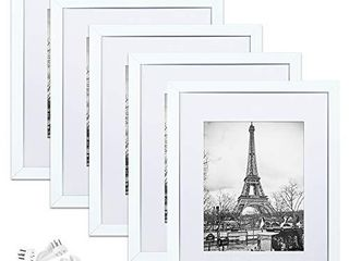 upsimples 11x14 Picture Frame Set of 5 Display Pictures 8x10 with Mat or 11x14 Without Mat Wall Gallery Photo Frames White