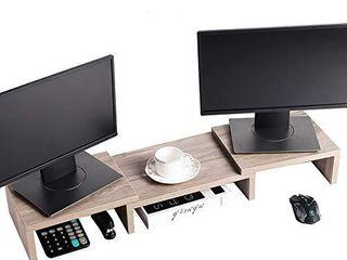 Superjare Monitor Stand Riser  Adjustable Screen Stand for laptop Computer TV PC  Multifunctional Desktop Organizer   Cream Gray