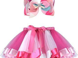 BGFKS Girls layered Tulle Rainbow Tutu Skirt with 8 Inch Big Hairbow Tutu Skirt with lining Hot Pink 2 4T