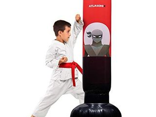 Inflatable Kids Punching Bag Free Standing Ninja Boxing Bag for Immediate Bounce Back for Practicing Karate  Taekwondo  MMA and to Relieve Pent Up Energy in Kids and Adults   Tall 5 3