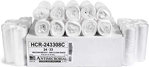 Aluf Plastics   HCR 243308C 12 16 Gallon Clear Trash Bags  1000 Count    24  x 33    8 Micron Equivalent High Density Value Garbage Bags for Bathroom  Office  Industrial  Commercial  Janitorial  Recycling