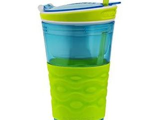 BROKEN PIECE SEE PICTURE  Snackeez Travel Snack   Drink Cup with Straw  Blue