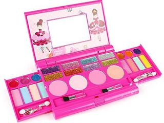 Tomons Kids Washable Makeup Kit  Fold Out Makeup Palette with Mirror  Make Up Toy Cosmetic Kit Gifts for Girls   Safety Tested  Non Toxic