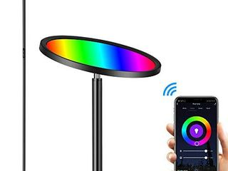 Floor lamp  Hueliv Super Bright RGBW Smart WiFi lED Floor lamp for Reading  Dimmable Torchiere  for living Rooms Bedrooms  for DIY  Compatible with Alexa   Google Home  Black  25W