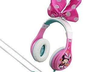 eKids Minnie Mouse Kids Headphones  Adjustable Headband  Stereo Sound  3 5Mm Jack  Wired Headphones for Kids  Tangle Free  Volume Control  Childrens Headphones Over Ear for School Home  Travel  MM 140 3Xv7
