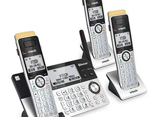 VTech IS8151 3 Super long Range 3 Handset DECT 6 0 Cordless Phone for Home with Answering Machine  2300 ft Range  Call Blocking  Bluetooth  Headset Jack  Power Backup  Intercom  Expandable to 12 HS