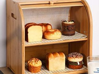 Bamboo 2 tier Bread Box  Kitchen Food Storage Bin display Countertop Shelf  Space Saving Bread Keeper with Adjustable Shelf  Wooden large Capacity Holder Easy Assembled Natural
