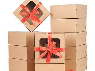 Bakery Boxes 30 PCS  6x6x3 inches Brown Kraft Cupcake Boxes  Cake Boxes with Window and Cake Board  Thick and Sturdy Cookie Boxes for Pastry  Cupcake  Cookie  Brownies  Macaron