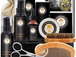 Upgraded Beard Grooming Kit w Beard Conditioner Beard Oil Beard Balm Beard Brush Beard Shampoo Wash Beard Comb Beard Scissors Storage Bag Beard E Book Beard Growth Care Gifts for Men