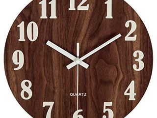 Jomparis 12  Night light Function Wooden Round Wall Clock Vintage Rustic Country Tuscan Style for Kitchen Bedroom Office Home Silent   Non Ticking large Numbers Battery Operated Indoor Clocks