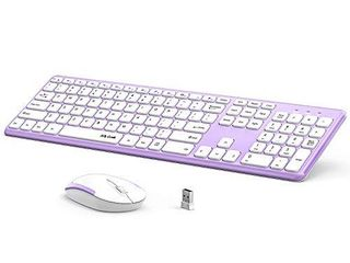 Wireless Keyboard and Mouse Combo  Jelly Comb KUT027 Wireless Keyboard and Mouse  2 4GHz Full Size Ultra Thin Keyboard Mouse for Computer  laptop  PC  Desktop  Windows 7  8  10  Grey