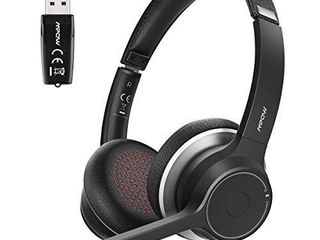 Mpow Bluetooth Headset V5 0 with Adapter  Wireless PC Headphones with Dual Microphone  CVC8 0 Noise Canceling  Office Headset for Computer  Cell Phone  Skype  MS Team  Call Center Wired Optional