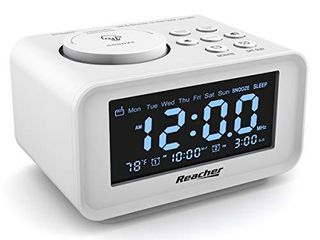 REACHER Dual Alarm Clocks Radio   Weekday Weekend Mode  0 100  Dimmer  Dual USB Charging Ports  6 Wake Up Sounds  Adjustable Volume  FM Radio with Sleep Timer  Battery Backup  Small Size for Bedroom