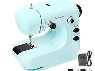 Mini Sewing Machine  Beletops Portable Sewing Machine lightweight Sewing Machine with Foot Pedal  Double Thread  lED light  Perfect for All Types of Fabric for Kids  Beginners  Household  Girls  Blue
