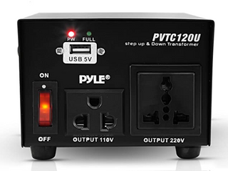 Step Up and Down Converter   100 Watt Voltage Converter Transformer w  USB Charging Port  UK Power Adapter  AC 110   120 to 220   240 Volt Vice Versa  110V 120V 220V 240V Input Voltage   Pyle PVTC120U