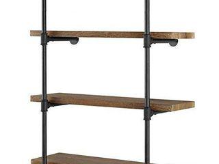Yuanshikj 2Pc  42  tall    12 deep   Industrial Wall Mount iron Pipe Shelf Shelves Shelving Bracket Vintage Retro Black DIY Open Bookshelf DIY Storage offcie room Kitchen  2 Pcs 4Tier Hardware Only