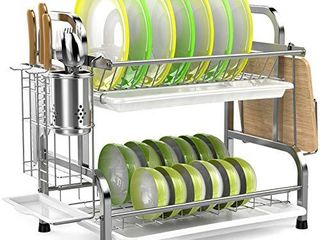 Dish Drying Rack  iSPEClE 304 Stainless Steel 2 Tier Dish Rack with Utensil Holder  Cutting Board Holder and Dish Drainer for Kitchen Counter
