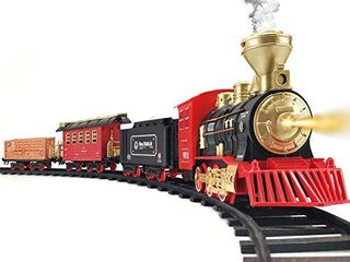 Train Set   Electric Train Toy for Boys Girls w  Smokes  lights   Sound  Railway Kits w  Steam locomotive Engine  Cargo Cars   Tracks  Christmas Gifts for 3 4 5 6 7 8  year old Kids