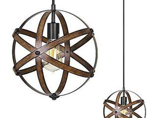 DEWENWIlS Industrial Metal Pendant Hanging light  Wood Grain Metal Spherical Cage Globe Vintage Ceiling Chandelier Foyer light for Kitchen Island  Bedroom  Dining Hall Corridor Office  ETl listed