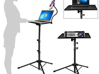 Projector laptop Tripod Stand   Computer  Tablet  DJ Equipment Holder Mount with Gooseneck Phone Holder Height Adjustable Up to 42 Inches w  15  x 11  Plate Size   Perfect for Stage or Studio Use