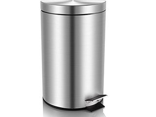 Mini Trash Can with lid Soft Close  Magdisc Round Bathroom Trash Can with Removable Inner Wastebasket  Anti Fingerprint Brushed Stainless Steel Trash Can  0 8Gal 3l
