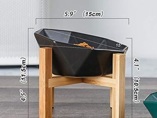 lIONWEI lIONWElI Black with Stand Ceramic Tilted Elevated Raised Pet Bowl with Bamboo Stand for Cats and Dogs No Spill Pet Food Water Feeder