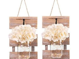 Besuerte Mason Jar Wall Sconces  Rustic Brown Wall Hanging Decor  lED Fairy lights with Automatic On and Off 6 Hour Timer  Set of 2 Brown