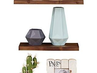 EKNITEY Floating Shelves Set of 3  Rustic Pine Solid Wood Wall Shelves Decor Display with Invisible Brackets for Kitchen living Room Bathroom Bedroom  Brown
