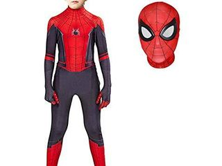 Superhero Costume Bodysuit for Kids Spandex Zentai Halloween Cosplay Jumpsuit 3D Style  Kids l  Height  48 51 Inch  Red