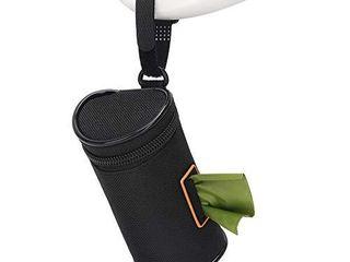 MalsiPree Dog Poop Bag Holder leash Attachment  Dog Waste Bag Dispenser with Stainless Steel Carabiner Clip   Adjustable Strap Fit for Any Dog leash   Poopbag  Black