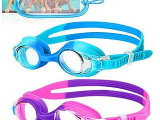 OMERIl Swim Goggles  2 Packs Anti Fog leak Proof Kids Swimming Goggles  Flexible Nose Bridge  3D Tight Fit Design  Wide View Swim Glasses with Portable Case for Children and Teens  Age 6 14