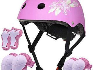 lamsion Kids Helmet Adjustable Toddler Bike Helmet for Kids Ages Over 5 Years Old  Boys Girls Helmet with Protective Gear Knee Elbow Wrist Pads for Bicycle Skating Skateboard    Pink   Flower