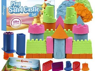 lITTlE CHUBBY ONE Kids Play Sand Castle Set   3 lbs Sand   Toy Magic Sand Set   10 Molds   Mess Free Play for Girls and Boys   Ideas for Children Activities Age 2 3 4 5 6 7 8 9 10