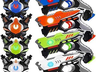 HISTOYE laser Tag Guns Sets of 4 Players Game laser Tag Sets with Gun and Vest Indoor Outdoor Toy Gun Battle for Boys Toys Age 3 4 5 6 7 8 9 10  Gifts for 12 Year Old Boy