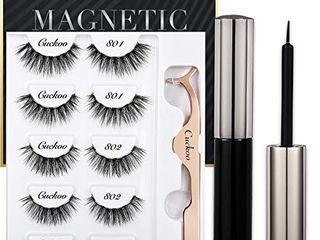 Magnetic Eyelashes and Eyeliner Kit  Magnetic False Eyelashes Magnetic Eyeliner for Magnetic Eyelashes Set  With Reusable Full lashes Dramatic Style 5 Pairs
