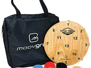 moovgruv Ring Toss Boss  4 Player Hook and Ring Toss Game with Carry Bag  Great for Indoor or Outdoor Family Games  Kids Game Room  Man cave  Yard Games  Camping or Carnival Games