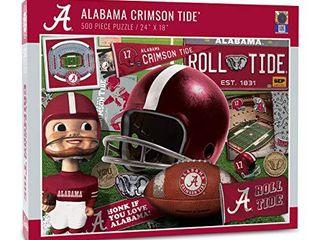 YouTheFan NCAA Alabama Crimson Tide Retro Series Puzzle   500 Pieces  Team Colors  large