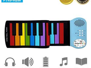 PicassoTiles PT49 Kid s 49 Key Flexible Roll Up Educational Electronic Digital Music Piano Keyboard w  Recording Feature  8 Different Tones  6 Educational Demo Songs   Build in Speaker   Rainbow