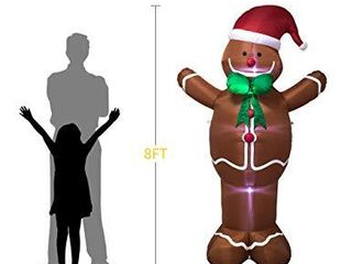 Ycolnaefllr 8 ft Gingerbread Man Christmas inflatables Indoor and Outdoor Decoration with lED lights Blow up lighted Yard lawn Inflatables Home Family Decor