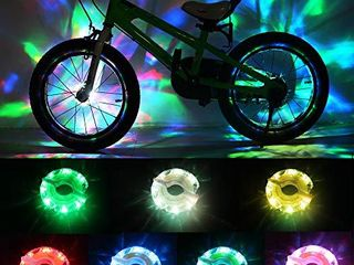 DAWAY Rechargeable Bike Wheel lights   A16 Cool led Kids Bicycle Spoke lights  2 Tire Pack  Safety Hub Accessories for Boys Girls Adults  Waterproof  Super Bright  Fun Cycling Gifts
