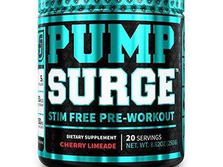 PUMPSURGE Caffeine Free Pump   Nootropic Pre Workout Supplement  Non Stimulant Preworkout Powder   Nitric Oxide Booster  20 Servings  Cherry limeade