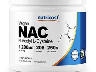 Nutricost N Acetyl l Cysteine  NAC  Powder 250 Grams   Vegetarian NAC  Non GMO  208 Servings