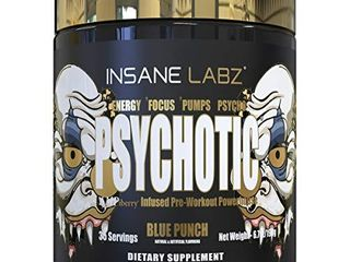 Insane labz Psychotic Gold  High Stimulant Pre Workout Powder  Extreme lasting Energy  Focus  Pumps and Endurance with Beta Alanine  DMAE Bitartrate  Citrulline  NO Booster  35 Srvgs  Blue Punch