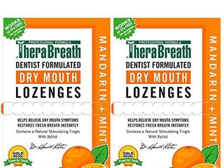TheraBreath Dry Mouth lozenges with Zinc  100 lozenges  Mandarin Mint  100 Count  Pack of 2  200 Count