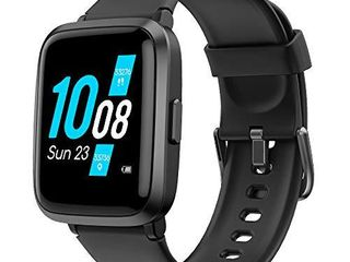 YAMAY Smart Watch  Watches for Men Women Fitness Tracker Blood Pressure Monitor Blood Oxygen Meter Heart Rate Monitor IP68 Waterproof  Smartwatch Compatible with iPhone Samsung Android Phones  Black