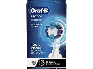 Oral B Pro 500 Electric Power Rechargeable Toothbrush with Automatic Timer and Precision Clean Brush Head
