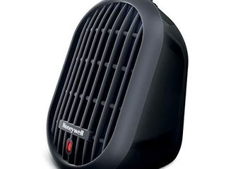 Honeywell HCE100B Heat Bud Ceramic Heater Black Energy Efficient Space Saving Portable Personal Heater With 2 Heat Settings for Home  School  Office